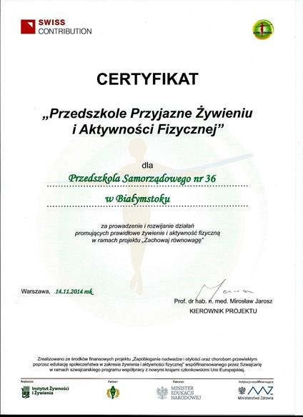 """Certyfikat """"Przedszkole Przyjazne Żywieniu i Aktywności Fizycznej"""""""