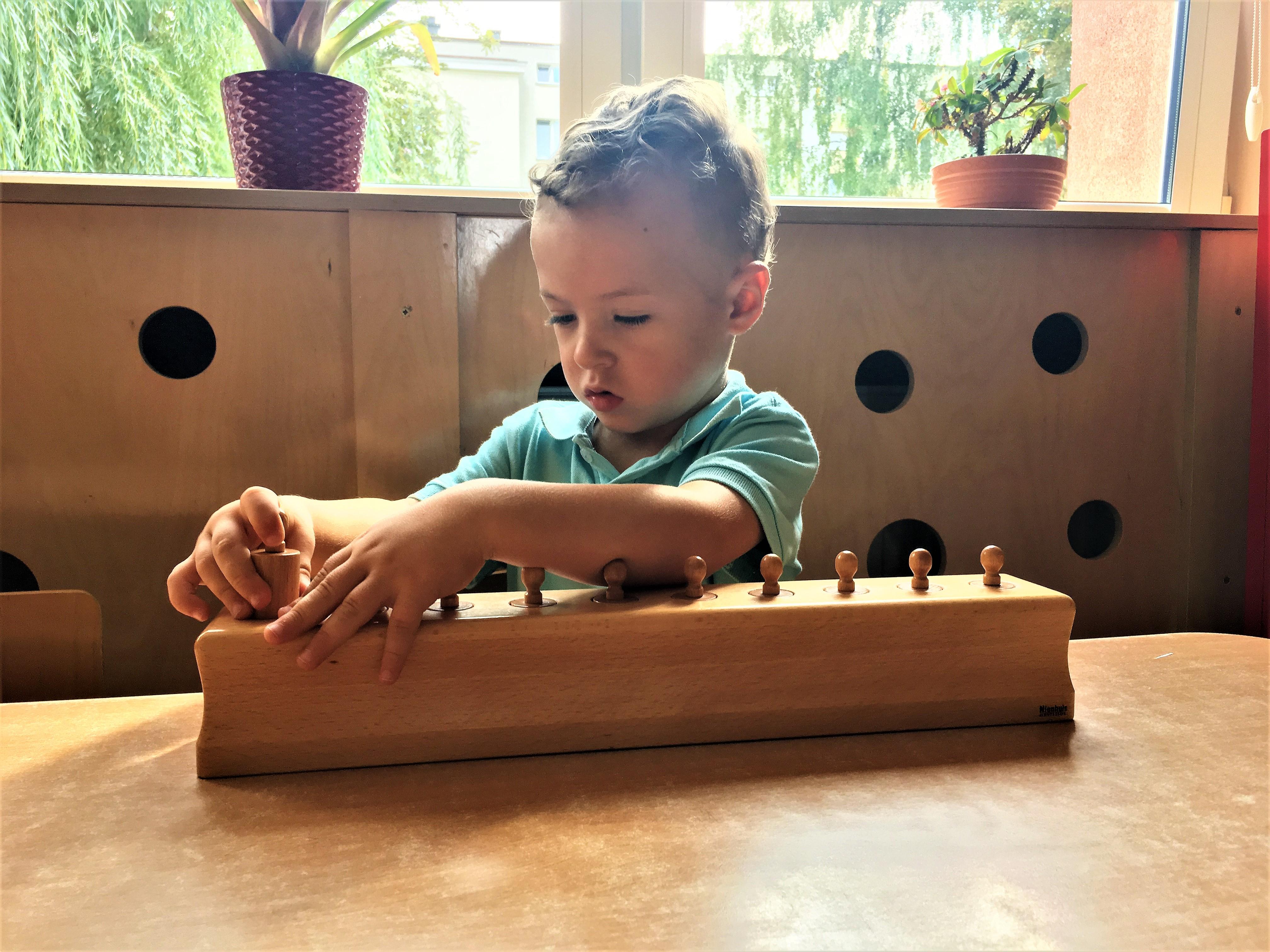 Praca z materiałem rozwojowym Marii Montessori w grupie II